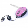 souris optique portable rose cable retractable